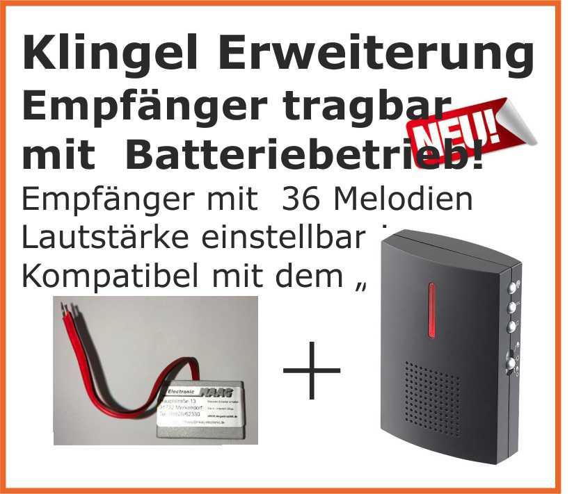 klingel erweiterung funkklingel f r bestehende klingelanlage batterie empf nger ebay. Black Bedroom Furniture Sets. Home Design Ideas