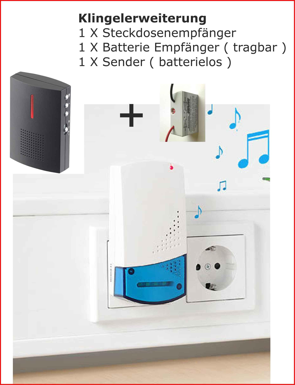 klingel erweiterung funk 2 empf nger 230 volt u batterie f r klingelanlage ebay. Black Bedroom Furniture Sets. Home Design Ideas